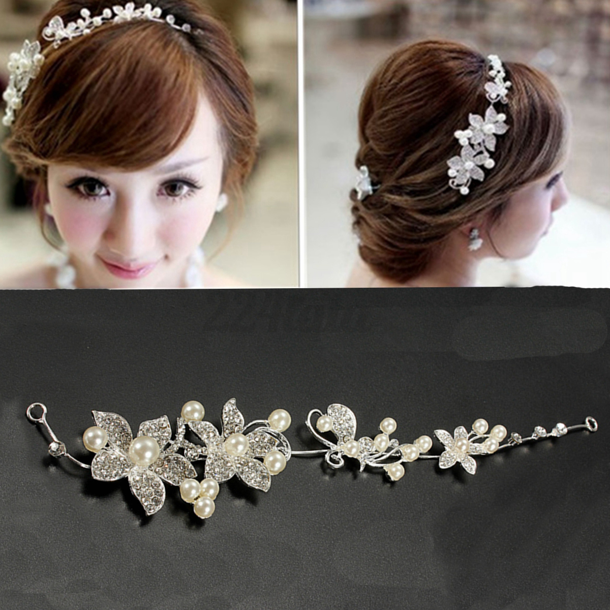 tiara haarreif braut party stirnband diadem deko hochzeit haarschmuck haarband ebay. Black Bedroom Furniture Sets. Home Design Ideas