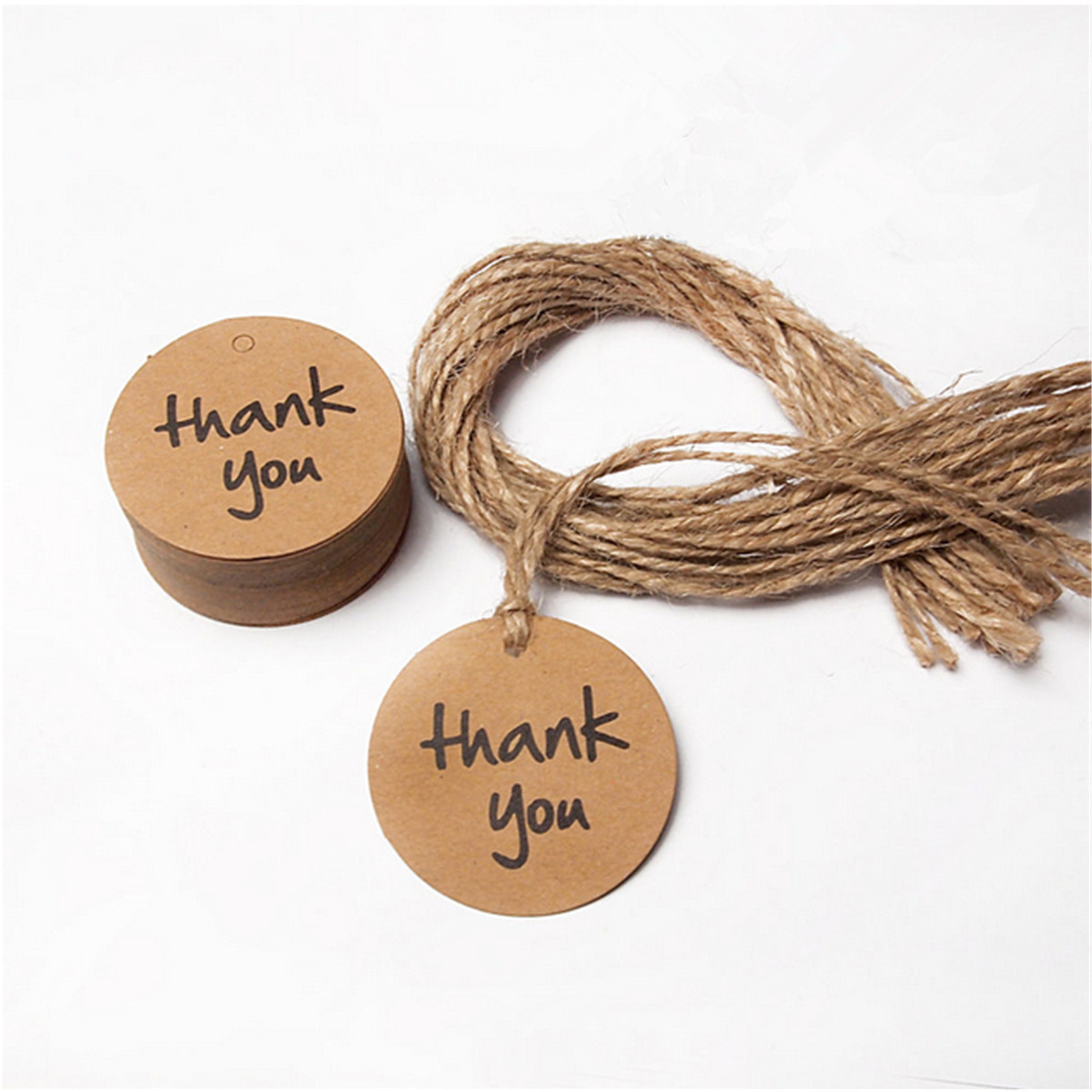 50Pcs Kraft Paper Hang Tags Brown Wedding Party Favor Gift Label + Strings