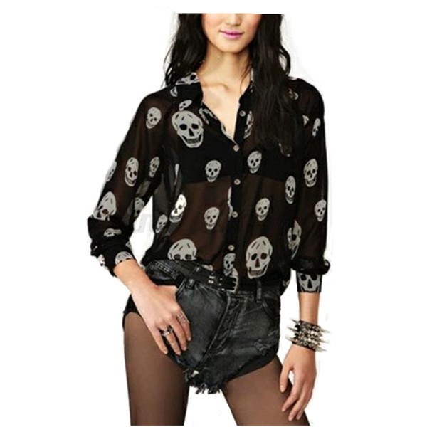 Zanzea Ladies Summer Casual V Neck Skull Print Lapel Collar Long Sleeve Blouse