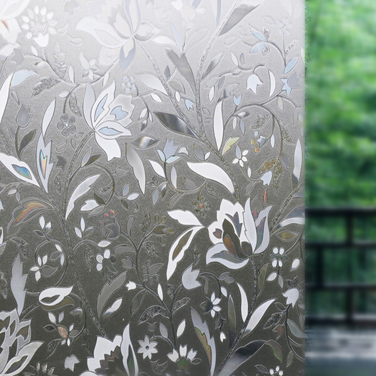 3d 45x100cm removable pvc flower sticker home glass window film