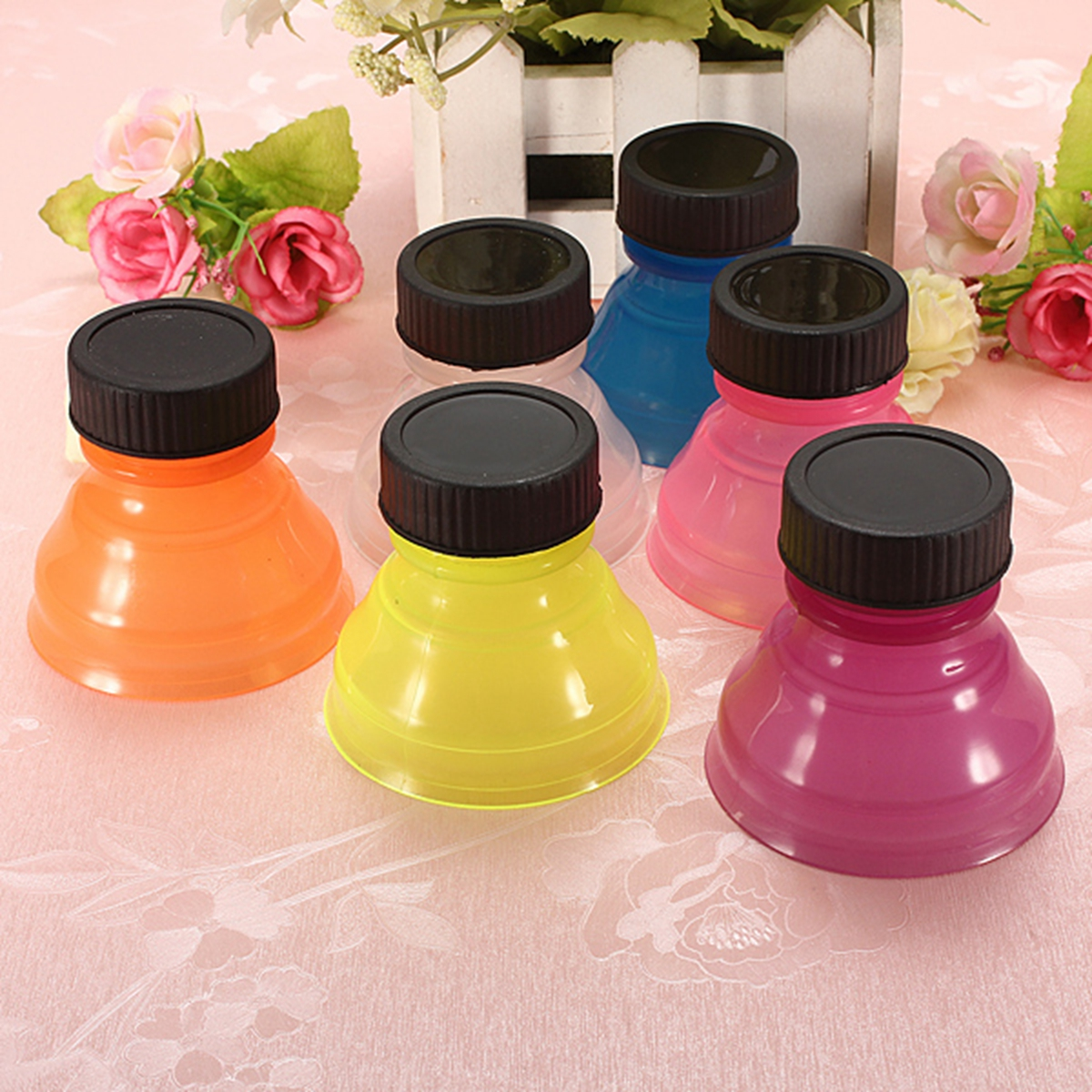 6 Pcs Colorful Tops Reuse Snap Bottle On Pop Soda Can