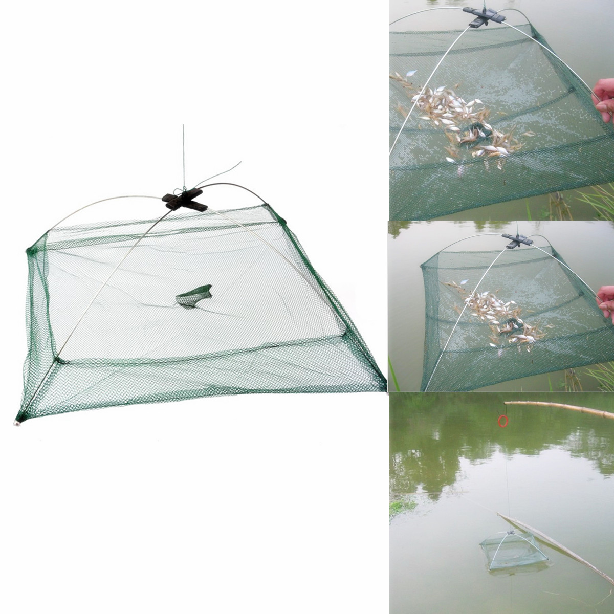 Portable foldable fishing net drop tackle cage trap crab for Drop net fishing