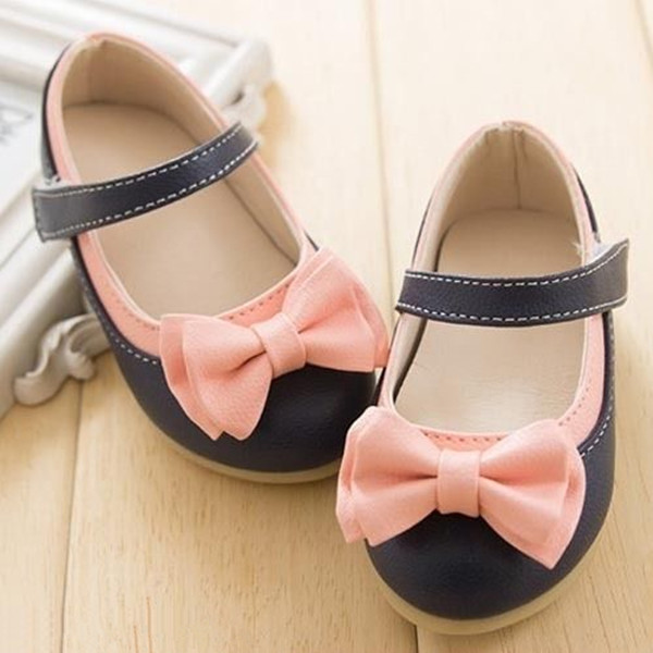 Baby Girls Bowknot Leather Skidproof Infant Flat Sole Toddlers Mary Janes Shoes