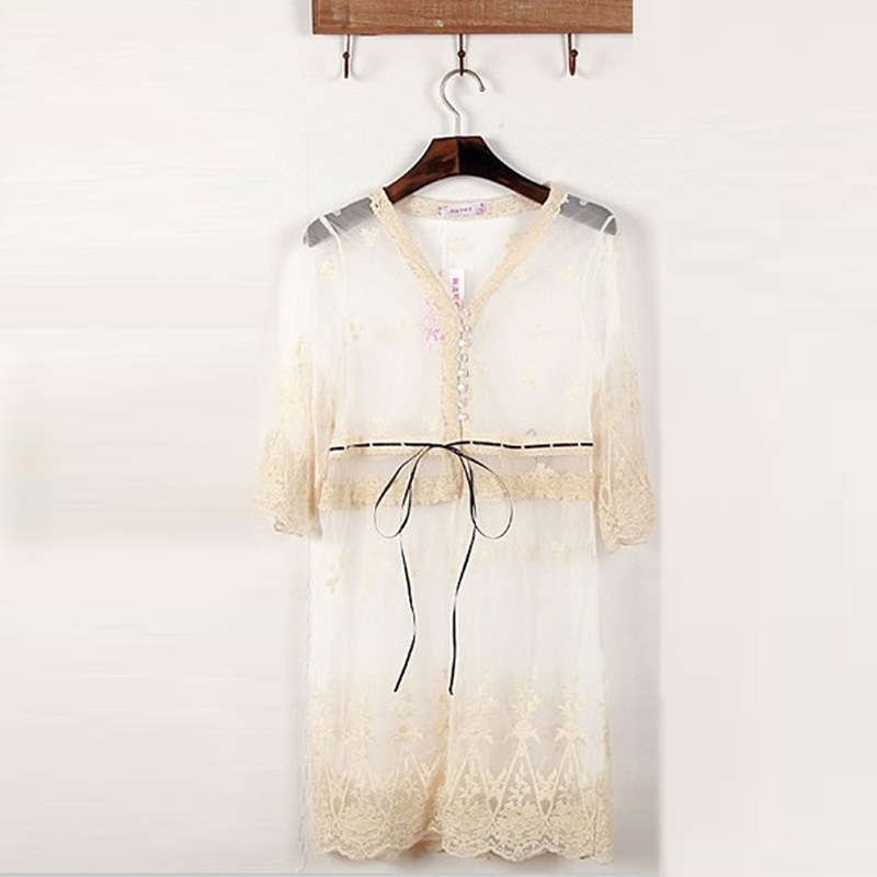Women Lace Floral Sheer Beach Cover Chiffon Tops Blouse T Shirt Cardigan Jacket
