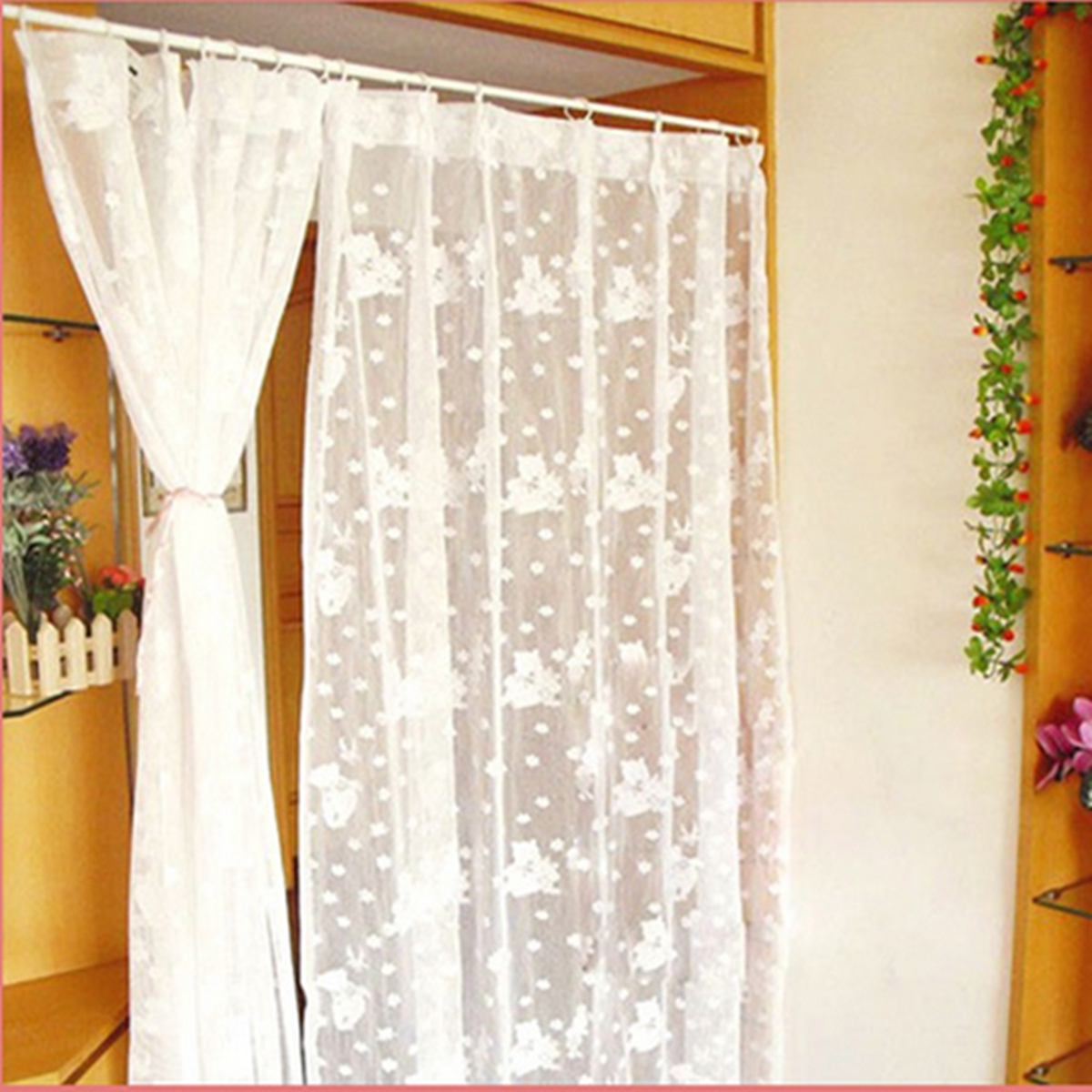 New Spring Loaded Tension Curtain Rod Rail Pole Extendable Telescopic Net Voile Ebay