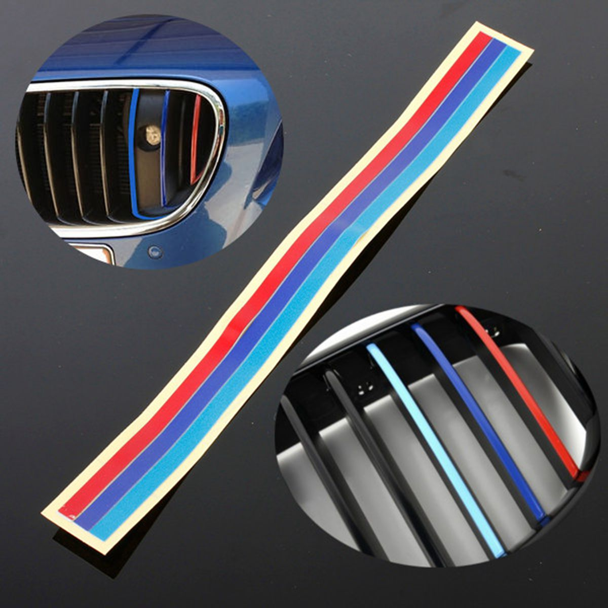 Bmwfort Package Includes: 3 Color Grill Vinyl Strip Sticker Decal For BMW M3 M5 E36
