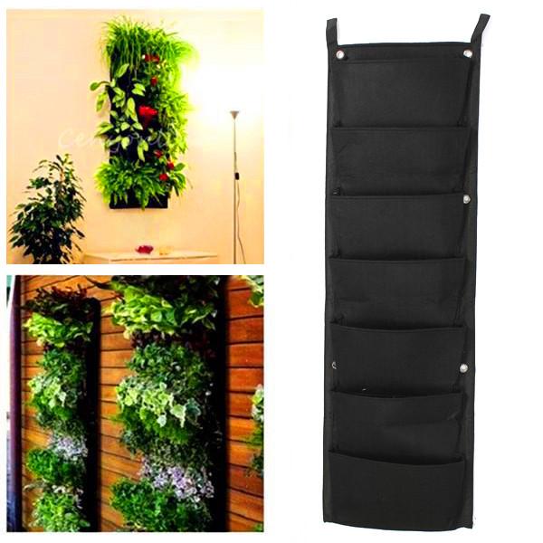 Pocket Hanging Fence Garden Vertical Flower Vege Herbs Wall Planter ...