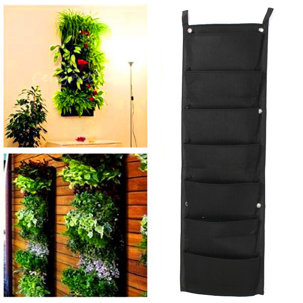 Planter Fence: 7-Pocket Hanging Fence Garden Vertical Flower Vege Herbs
