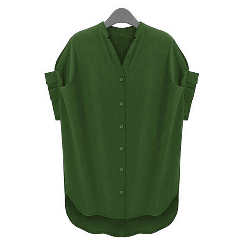 Ladies short sleeve stand collar oversized button down for Button collar t shirt
