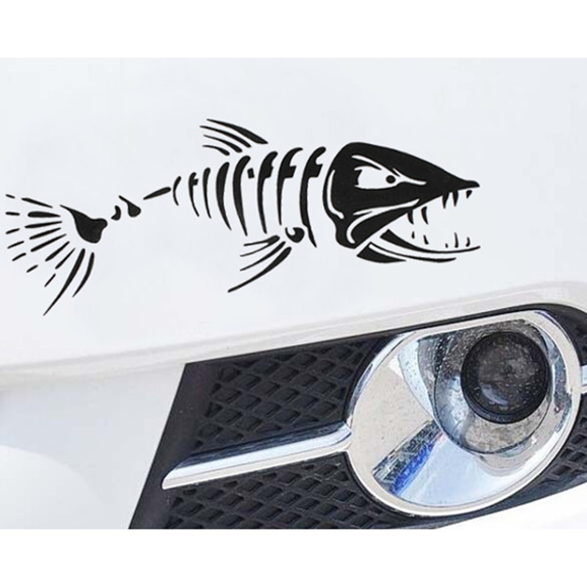 Car boat window skeleton angry shark mad fish fishing for Fishing car stickers