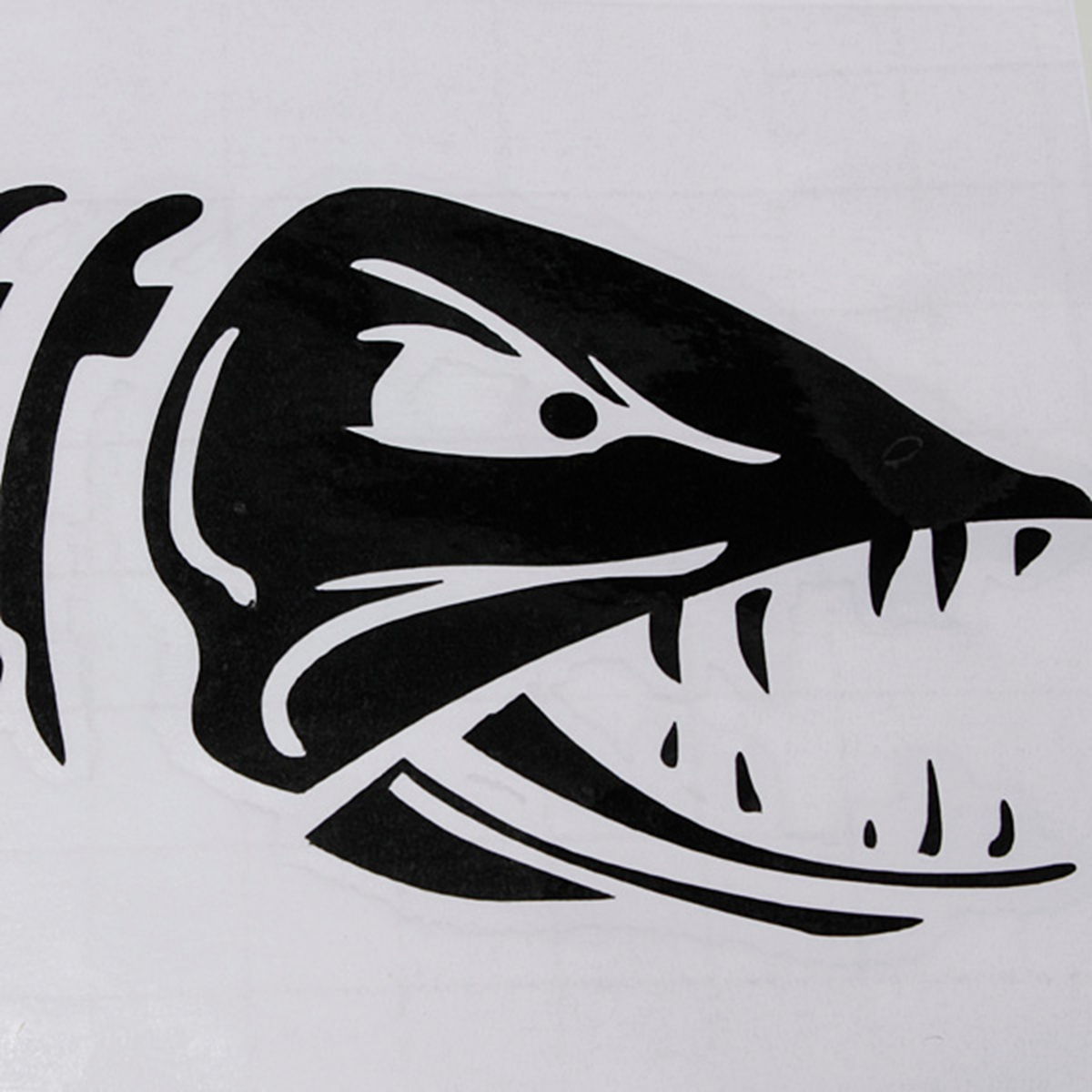 Car boat window skeleton angry shark mad fish fishing for Fish skeleton decal