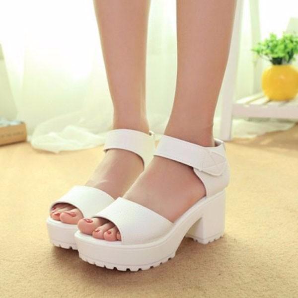 Fashion Summer Women Chunky Heel Platform Peep Toe Preppy Sandals Shoes Pumps