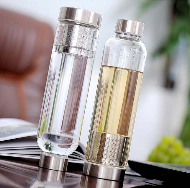550ml sport verre gourde bouteille infusion jus fruit eau th filtre bpa free ebay. Black Bedroom Furniture Sets. Home Design Ideas