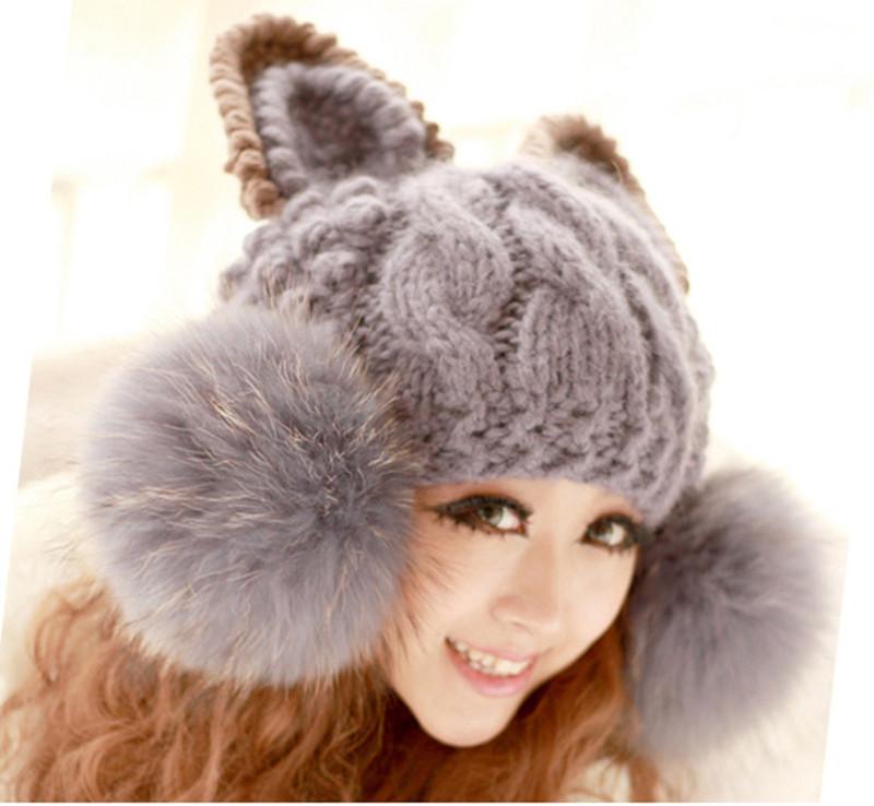 Womens Fur Cat Ear Horn Cap Ski Lady Knit Bobble Beanie Head Hat Warm Winter