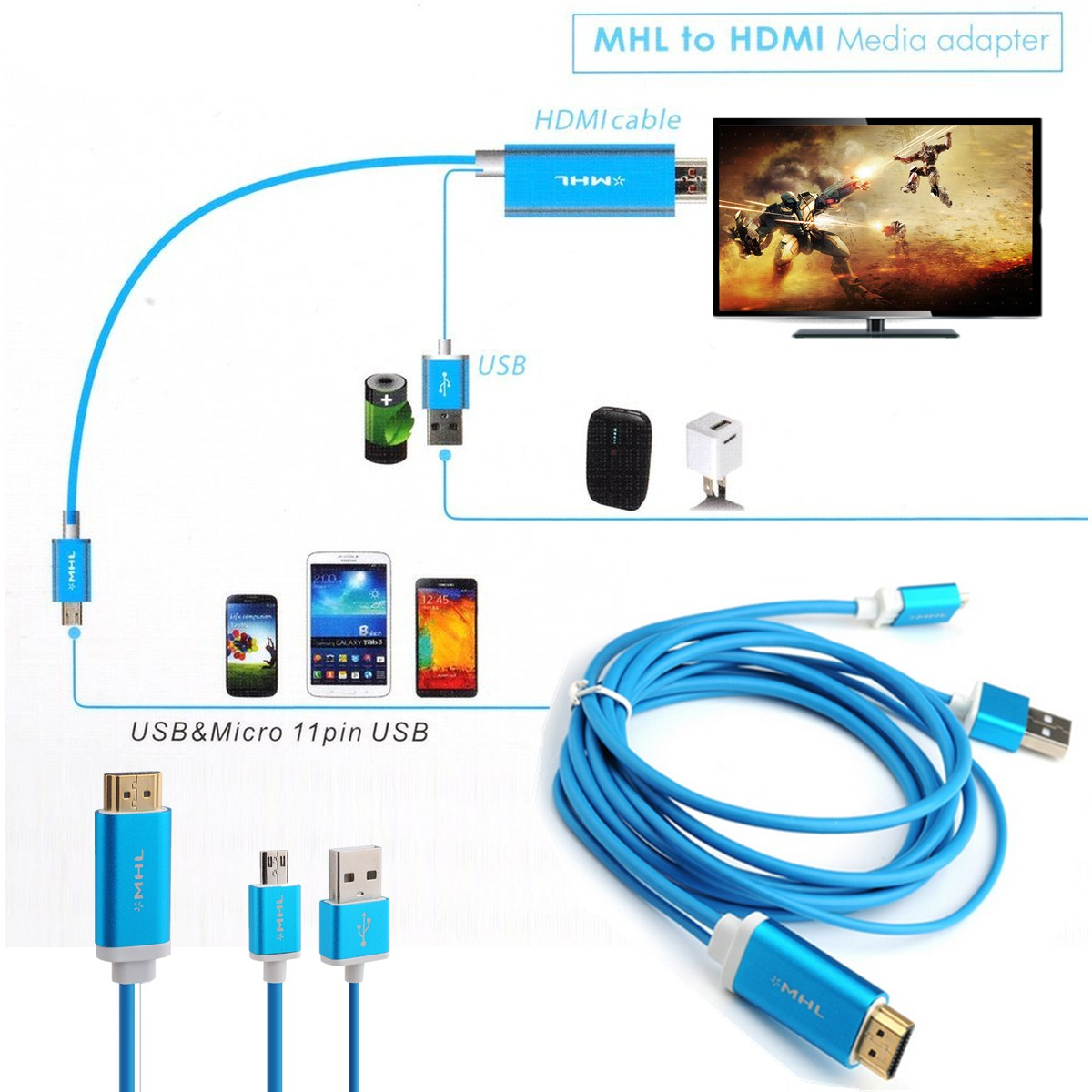 1080p micro usb 2 0 mhl auf hdmi adapter hd tv kabel f r samsung galaxy 11 pin ebay. Black Bedroom Furniture Sets. Home Design Ideas