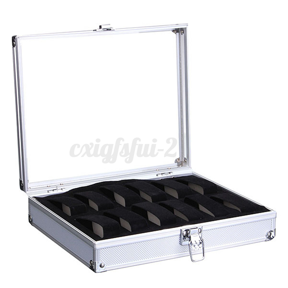 Aluminium Watch Storage Case Bracelet Organiser Display Box With Pillows Holders