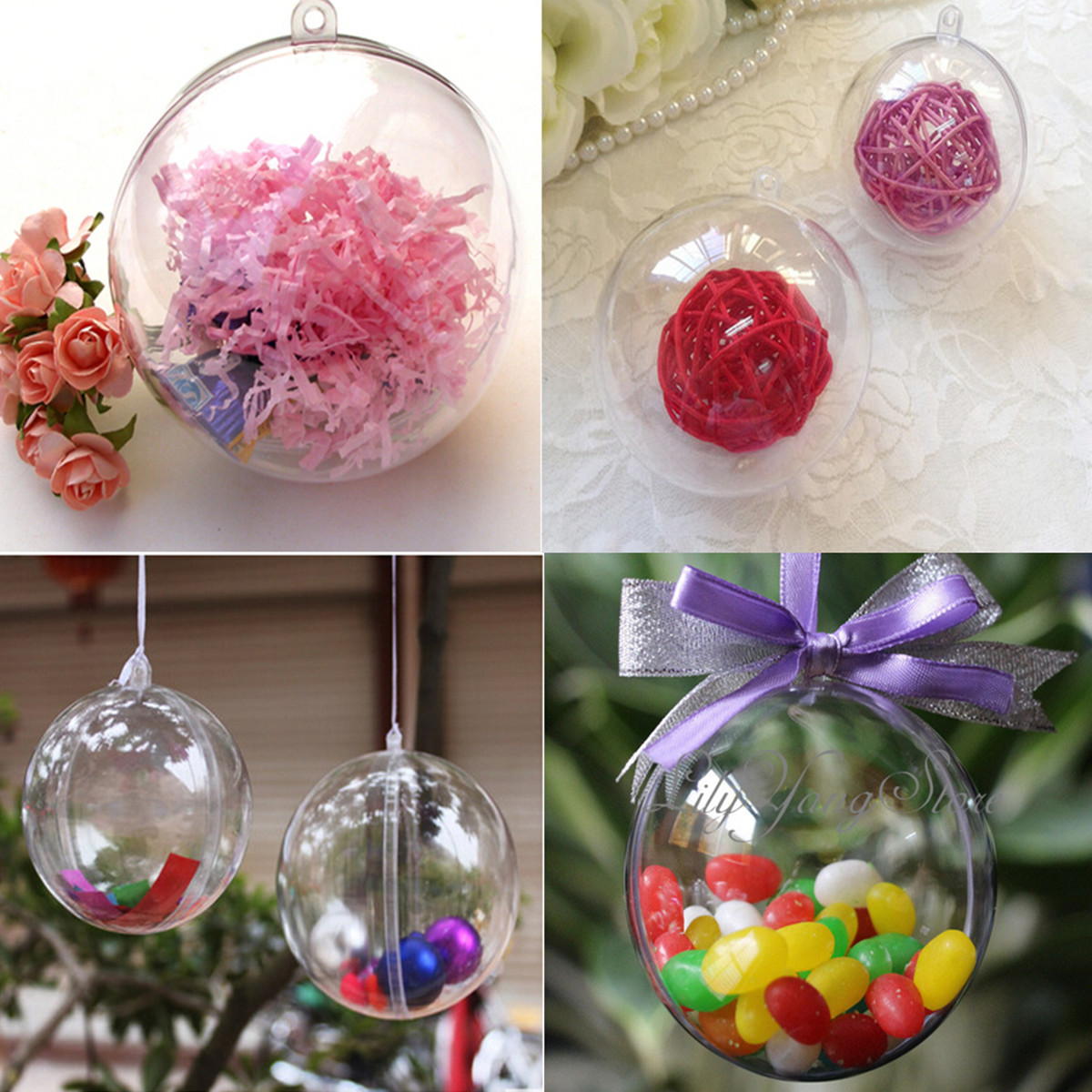 Decorative Christmas Ball Ornaments: 4Size Christmas Decorations Hanging Ball Bauble Candy
