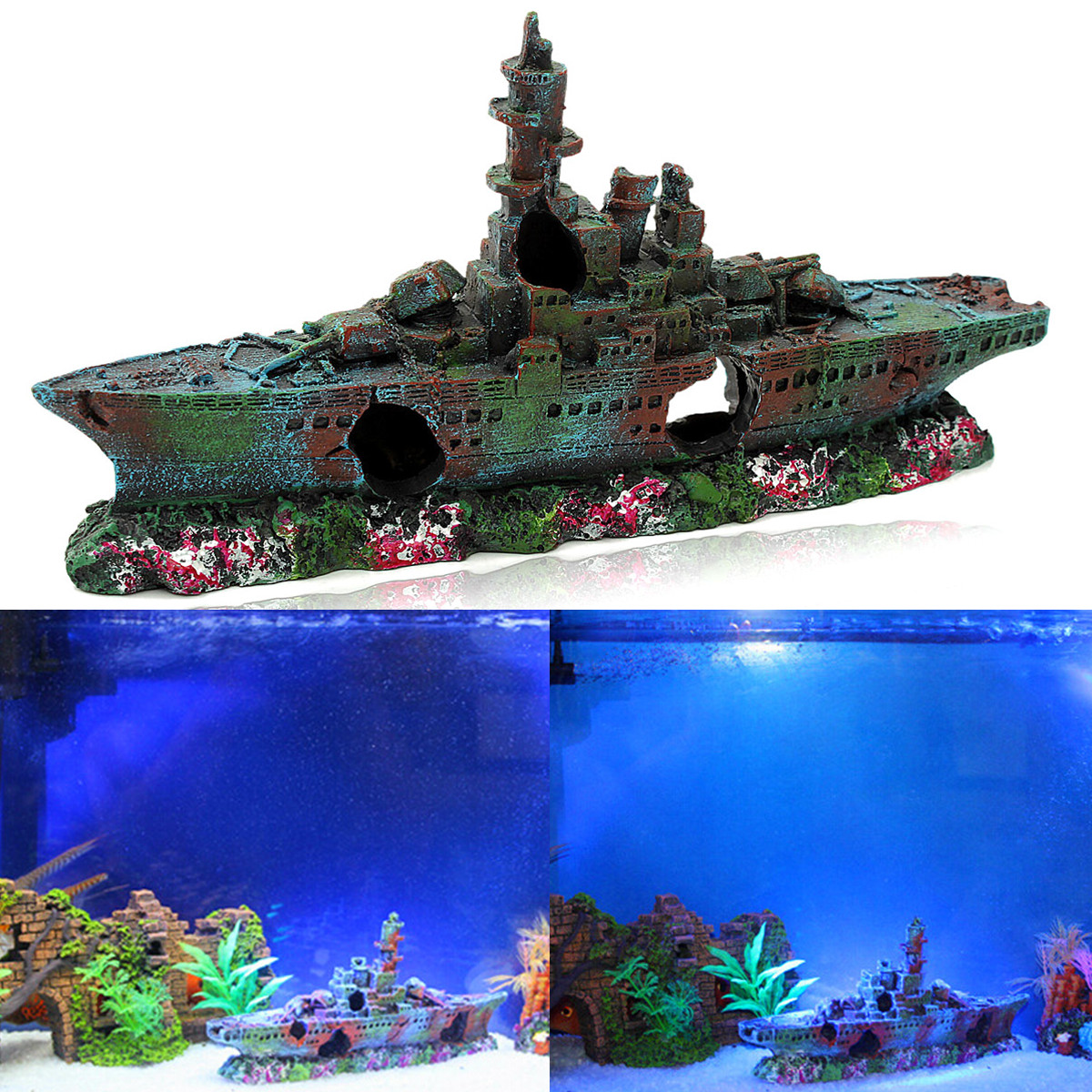 Aquarium resin boat wreck vessel ornament decoration fish for Aquarium cave decoration