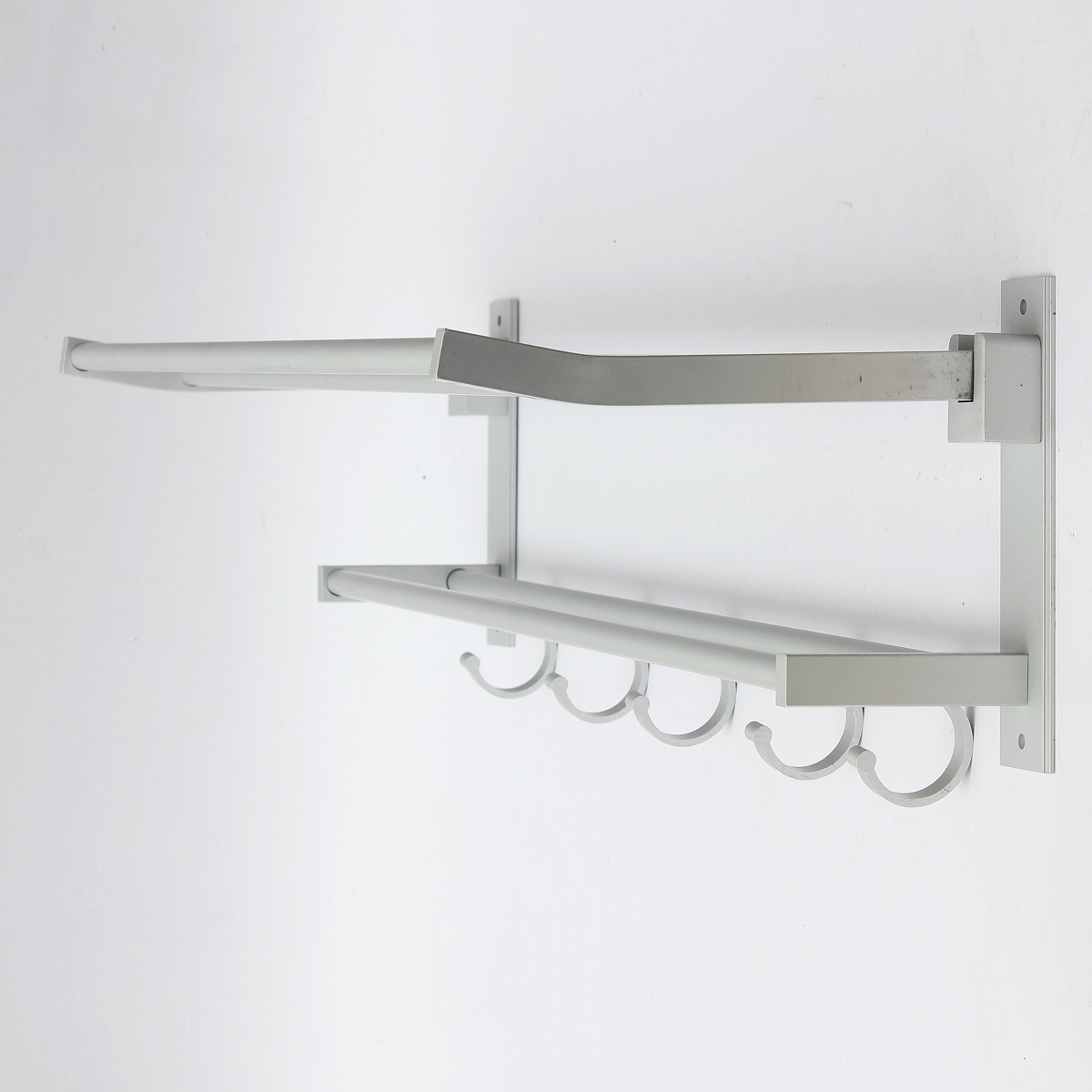 Foldable Alumimum Towel Bar Rack Holder Hanger W 5 Hooks