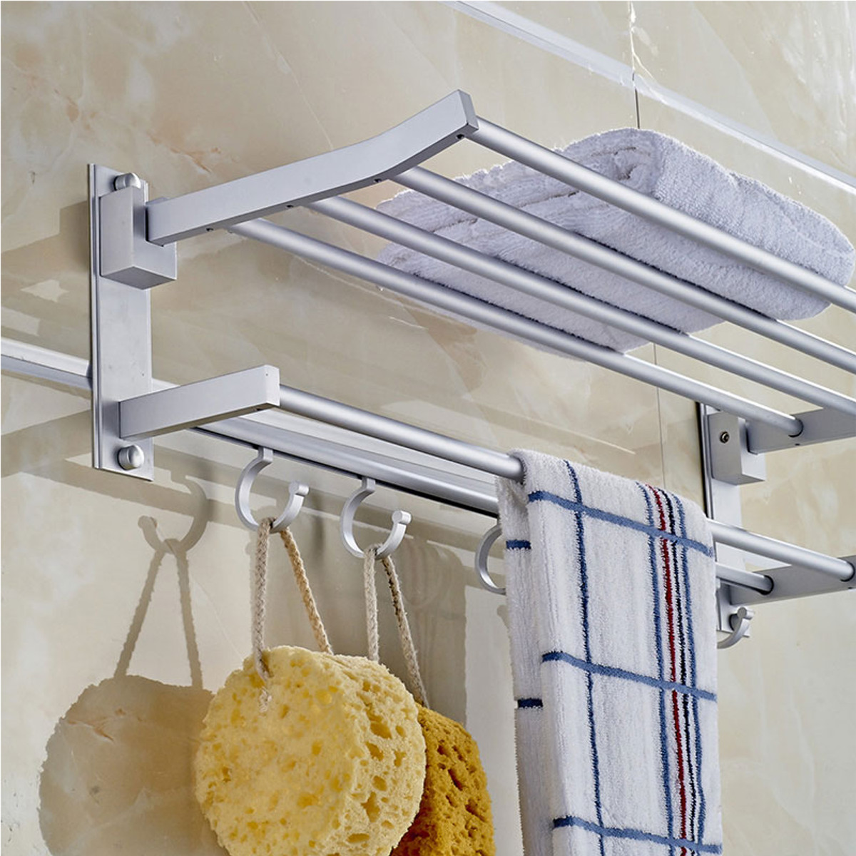 foldable alumimum towel bar rack holder hanger w 5 hooks bathroom hotel shelf ebay. Black Bedroom Furniture Sets. Home Design Ideas