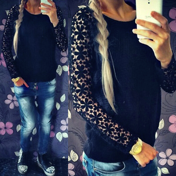 Patchwork Lace Pullover Knitted Women Sweater Long Sleeve Hollow Out Casual