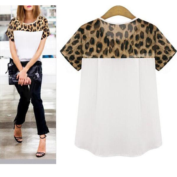 HOT Plus Size 8-24 Fashion Ladies Leopard Chiffon Women Top Shirt Blouse T-shirt