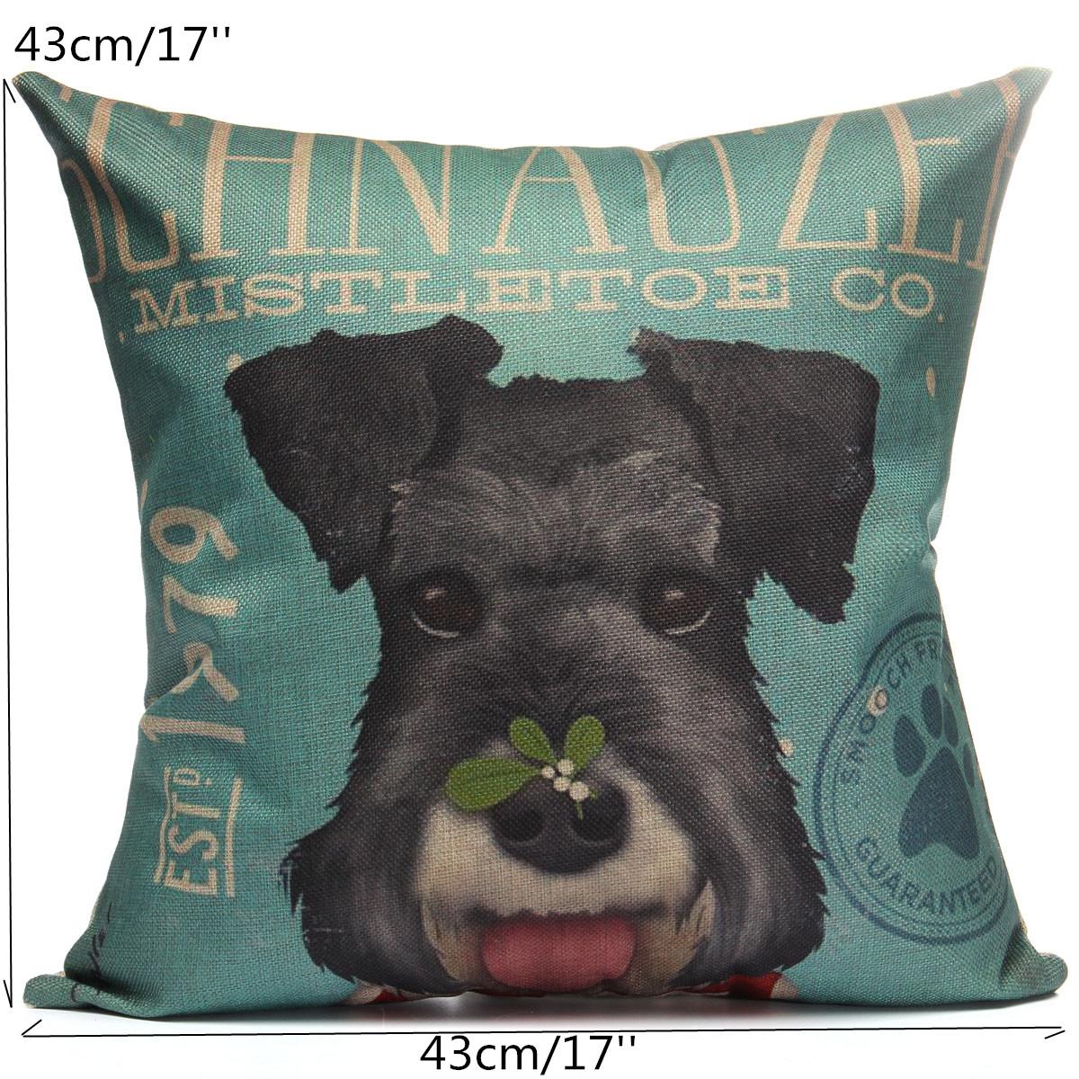 Cushion Cover Dog Animal Throw Sofa Pillow Case Home Decor Cotton Decorative eBay