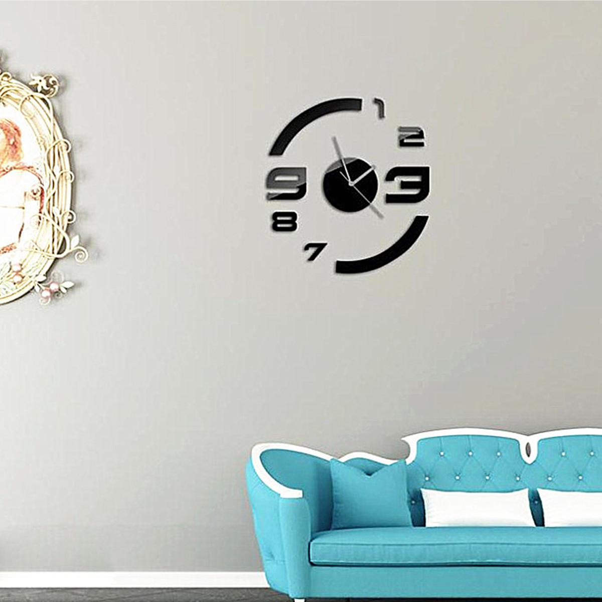 3Color 3D Mirror Wall Clock Home Office DIY Large Hour Time Sticker Decal Decor