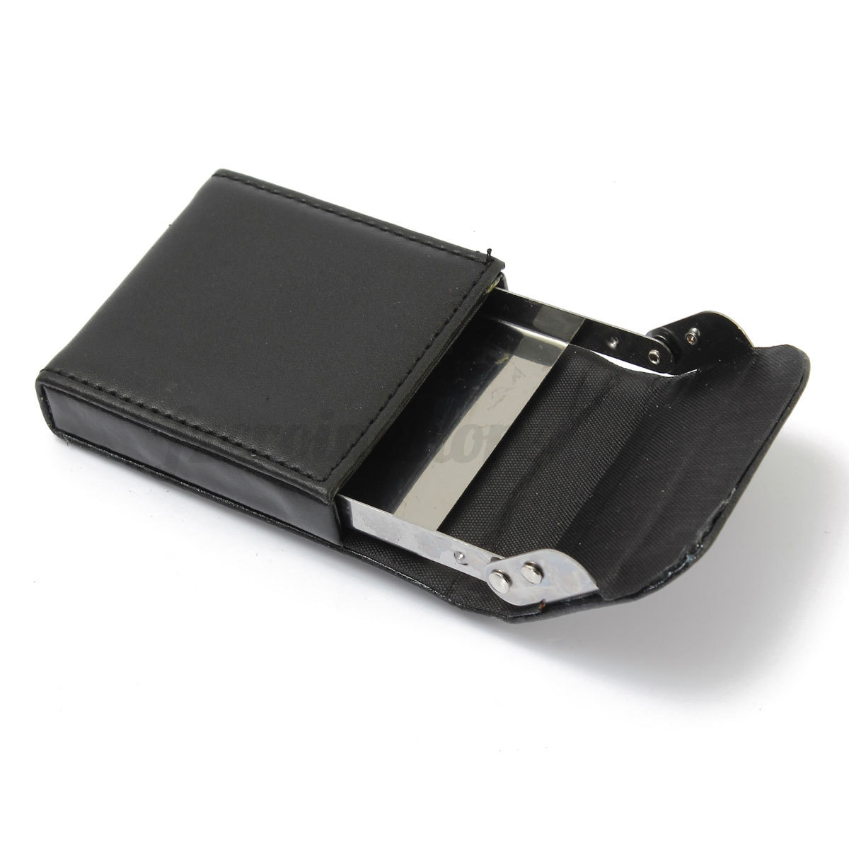 Portable leather pocket business mens credit name id card for Mens business card case