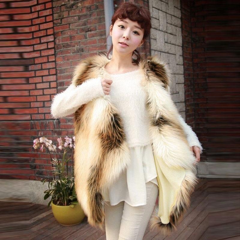 Women Color Contrast Hairy Shaggy Faux Fox Fur Vest Gilet Full Waistcoat Jacket