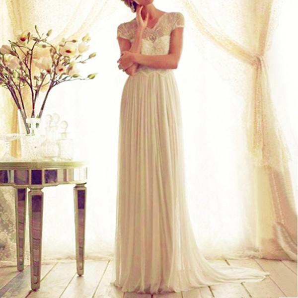 Retro Apricot Lace Chiffon Gorgeous Wedding Gown Maxi Dress Bow Belt Size 6-12
