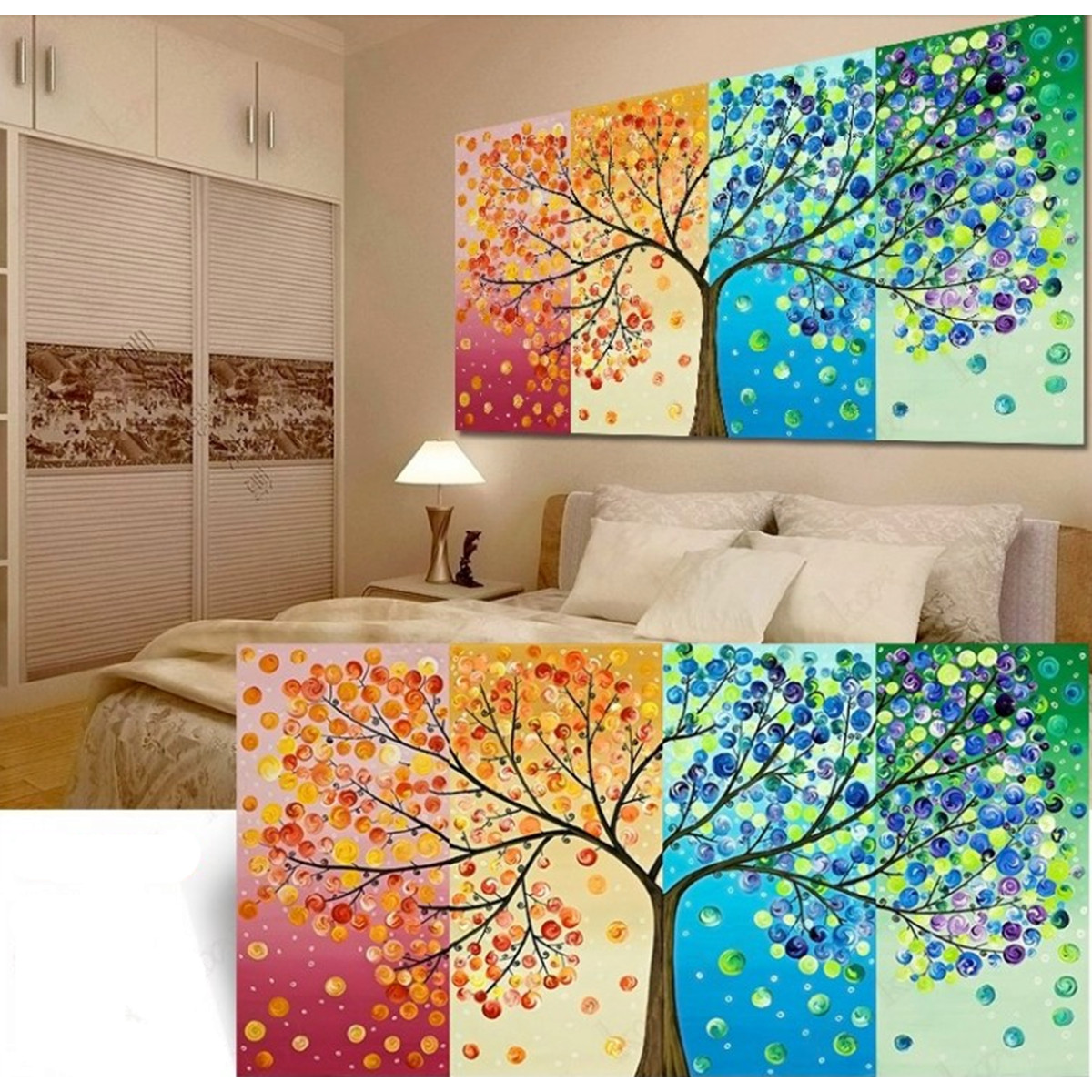 Tree Decor For Home: DIY Handmade Colorful Season Tree Counted Cross Stitch