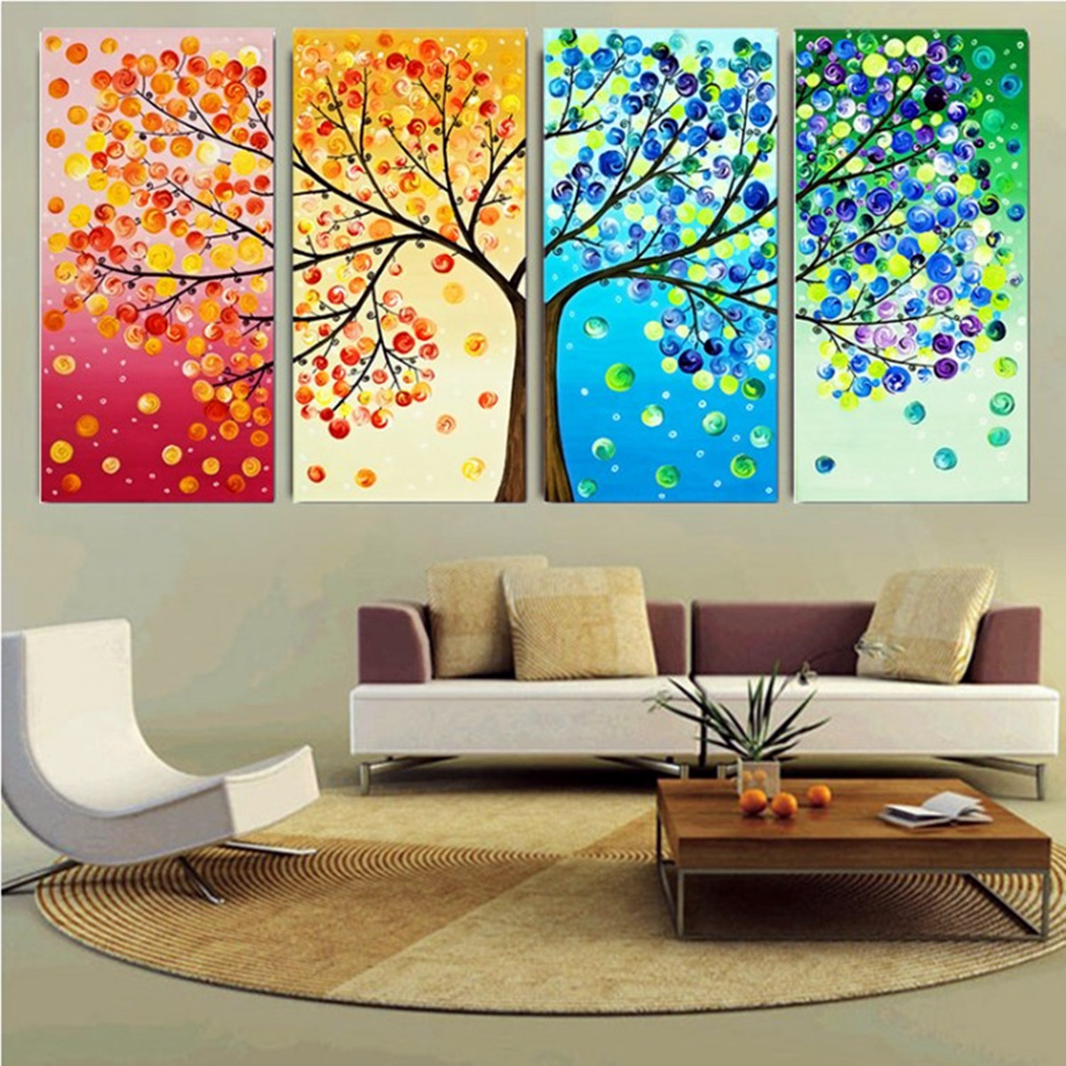 Diy handmade colorful season tree counted cross stitch for Www decorations home