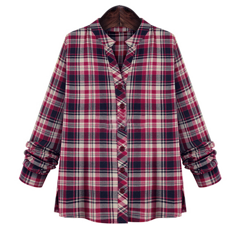 New women girls plaid check casual flannel tops t shirt for Oversized plaid shirt womens