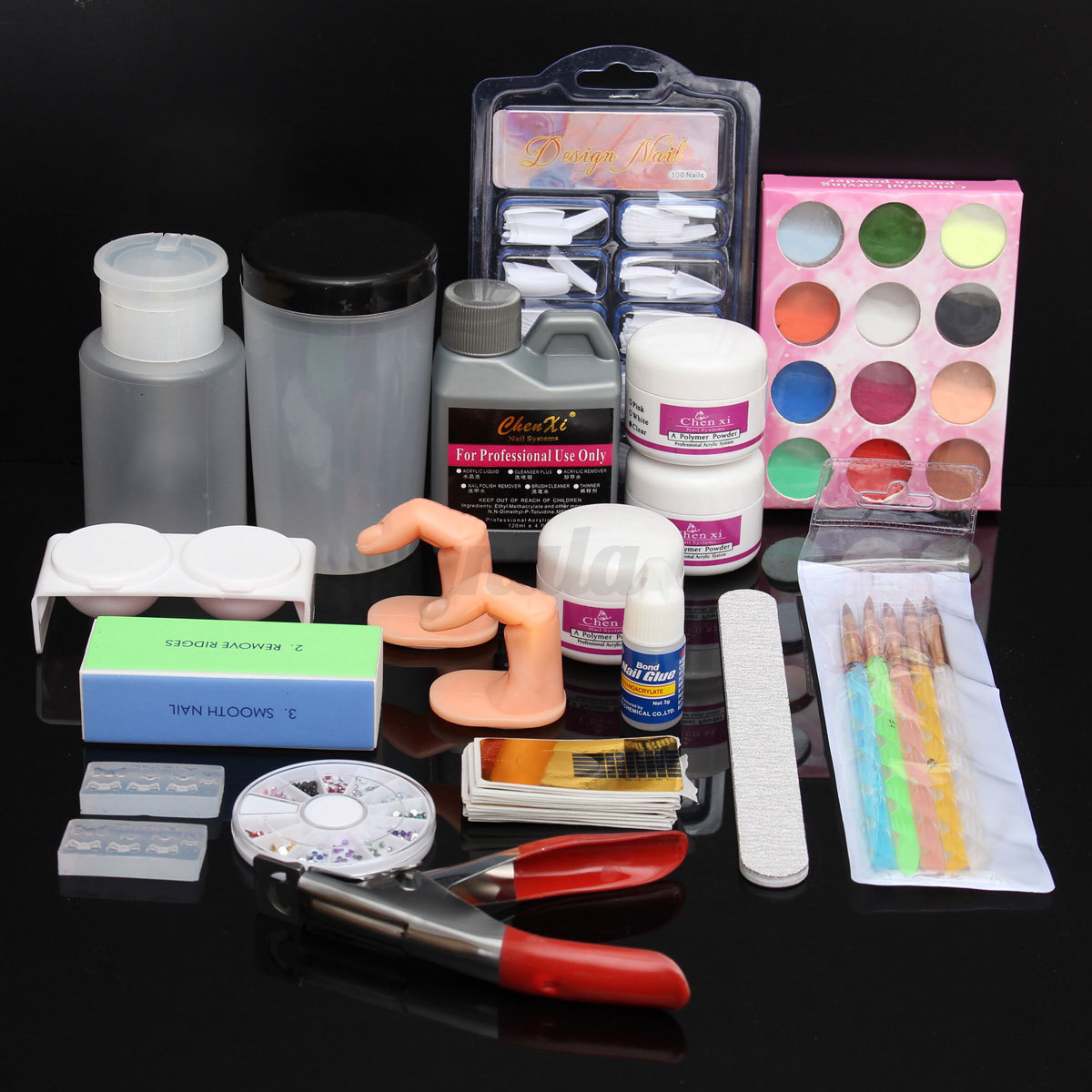 kit farben starter set uv gel nagelset glitter puder. Black Bedroom Furniture Sets. Home Design Ideas