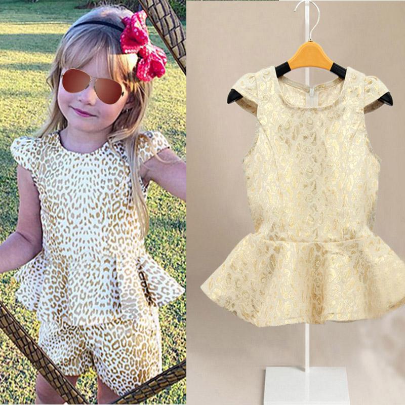 Toddler Baby Girl Golden Leopard Print Pants Suit Tops+Pants 2PCS Outfits 18M-6Y