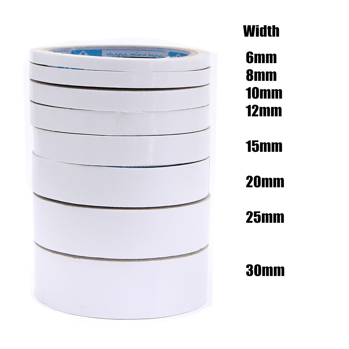 10m rouleau ruban bande auto adhesif papier double face colle tape sticker blanc ebay. Black Bedroom Furniture Sets. Home Design Ideas