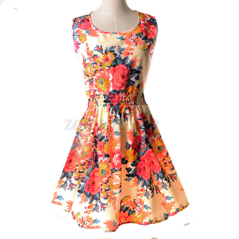 New Women Summer Casual Maxi Party Evening Mini Skirt Beach Holiday Floral Dress