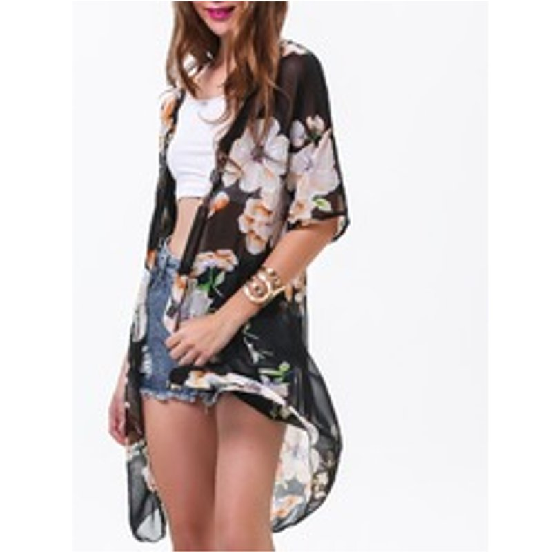 Ladies Floral Baggy Long Kimono Sheer Chiffon Short Sleeve Coat Cape Cardigan