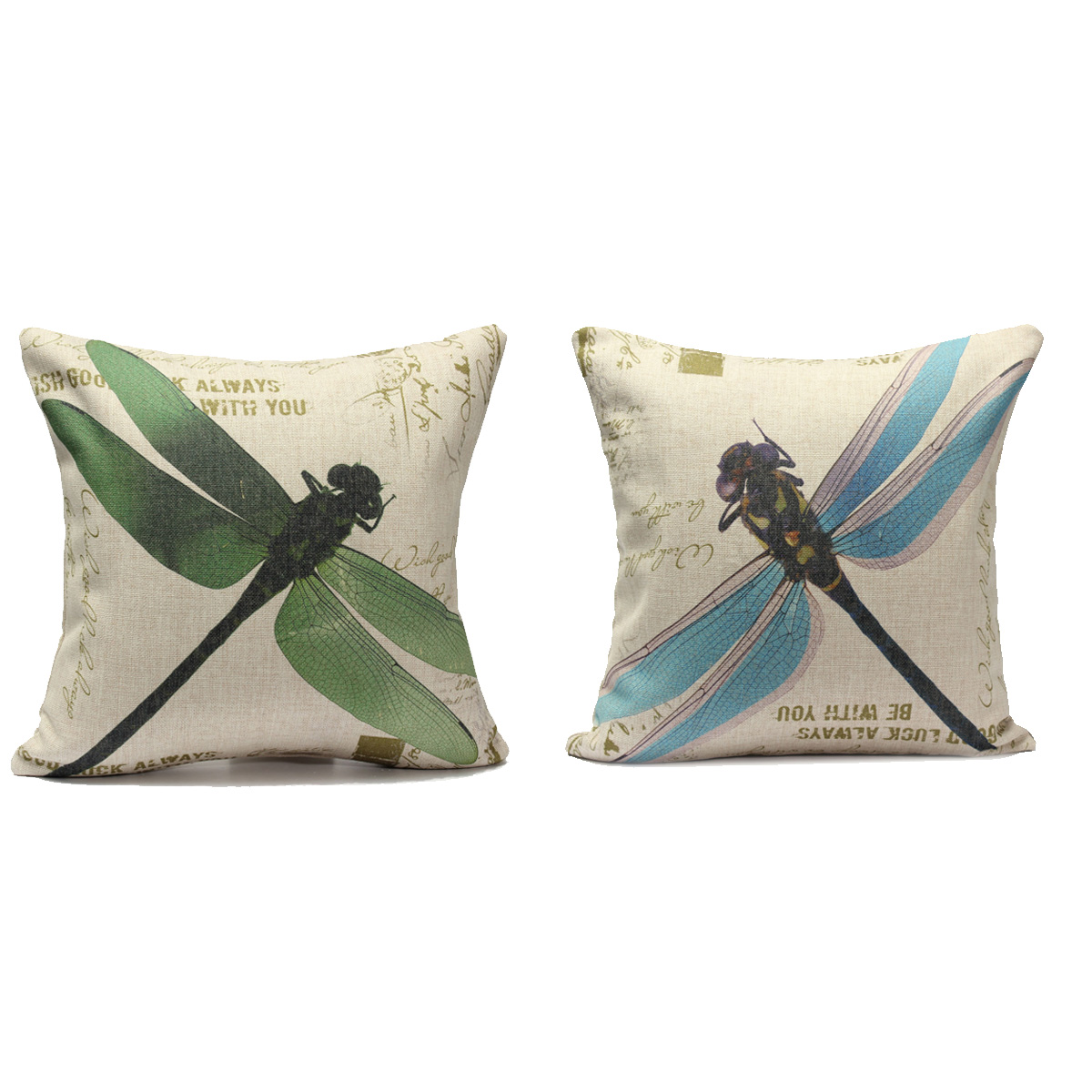 Throw Pillow With Dragonfly : Dragonfly Throw Cushion Cover Linen Cotton Sofa Car Waist Pillow Case Decoration eBay