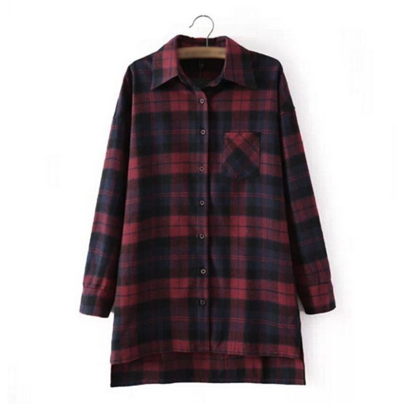 Oversized Women Scottish Plaid Check Tartan Tee Shirt Tops Blouse Baggy Cardigan