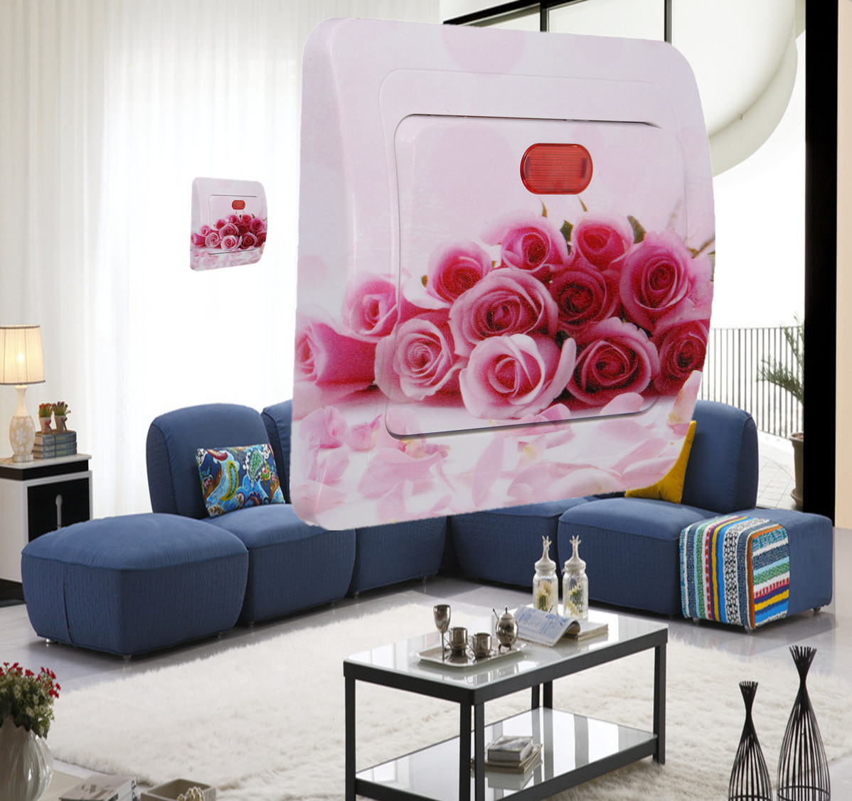Rose Sticker Switch Socket Mural Wall Paper Cover Skin