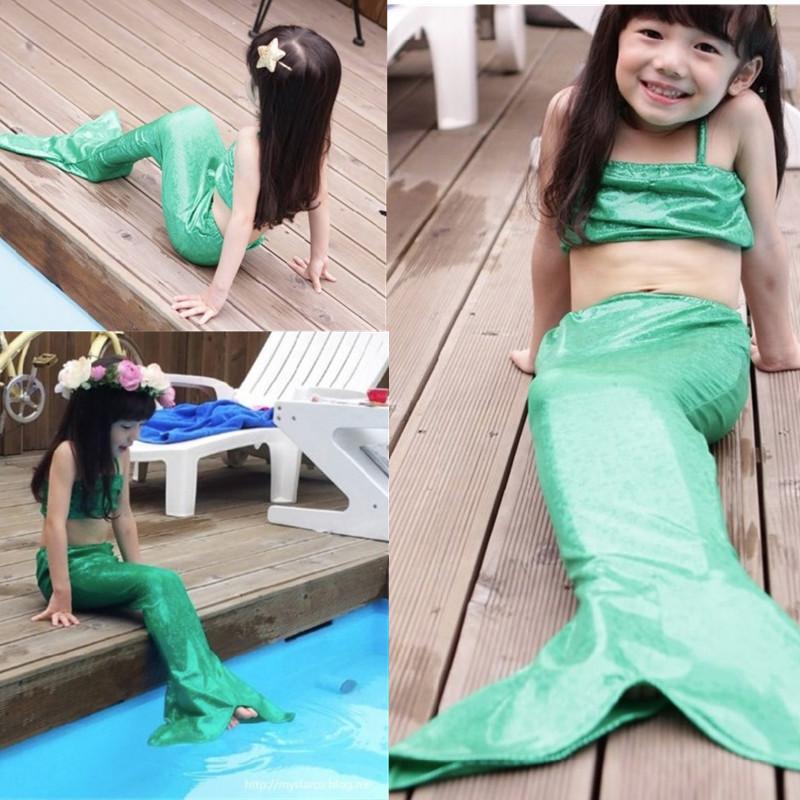 girls kids little mermaid tail bikini set swimmable swimming swimsuit