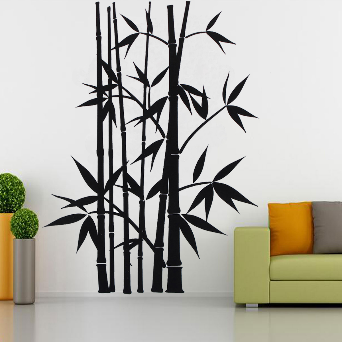 removable wall sticker home decor art decoration mural decal vinyl bamboo black ebay. Black Bedroom Furniture Sets. Home Design Ideas