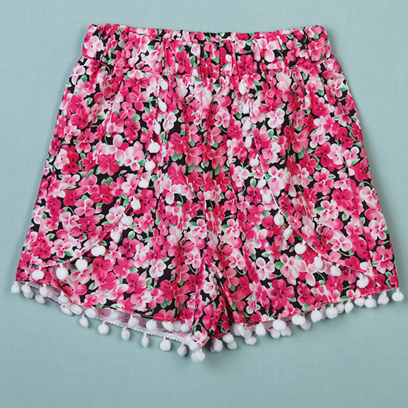 boho damen strand pom pom high waist bikini shorts. Black Bedroom Furniture Sets. Home Design Ideas