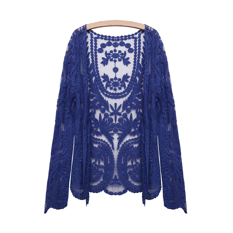 Women Hollow Retro Lace Embroidery Flower Floral Crochet Cardigan Blouse Tops