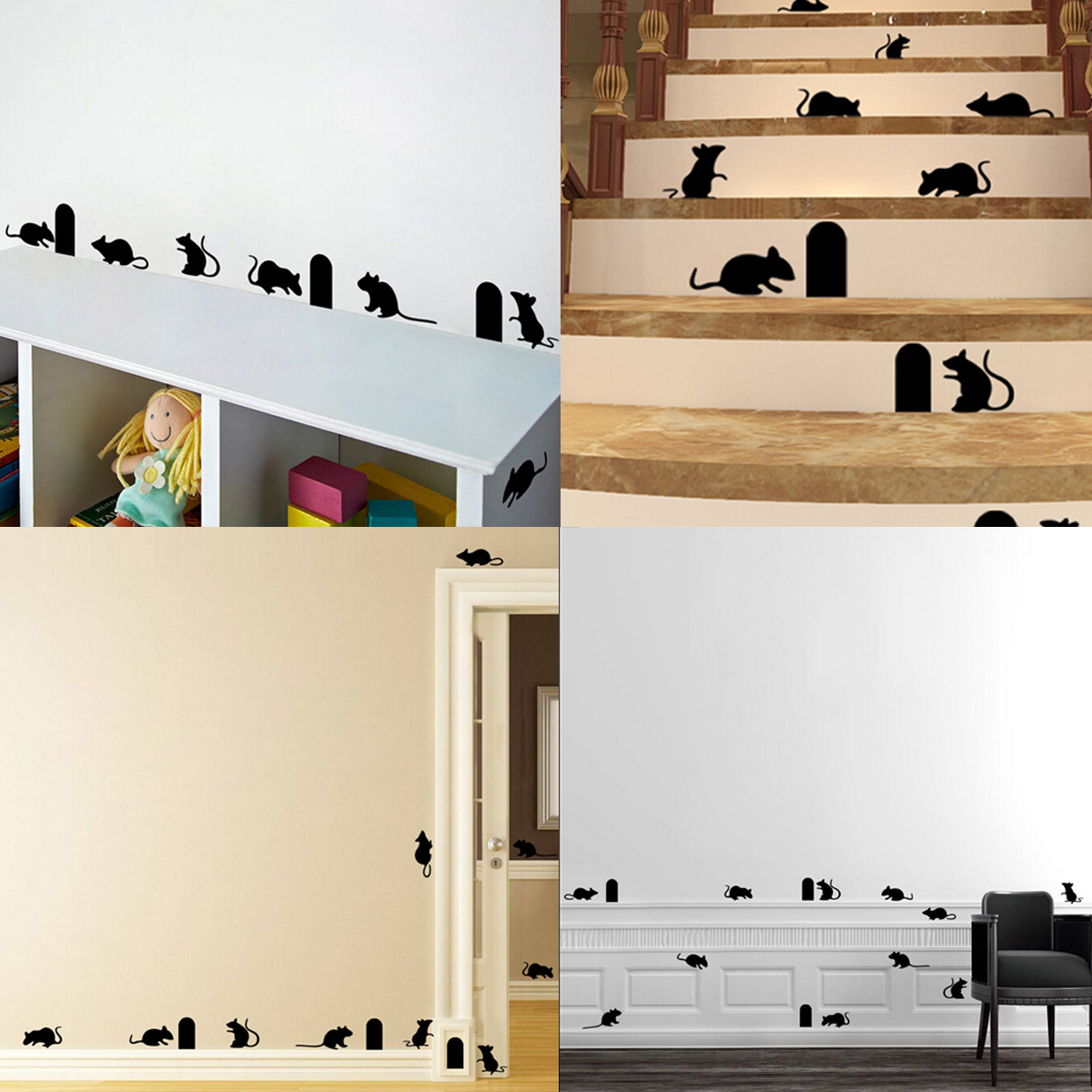 Souris trou rat mouse autocollant mural amovible sticker maison couloir d cor - Stickers couloir maison ...