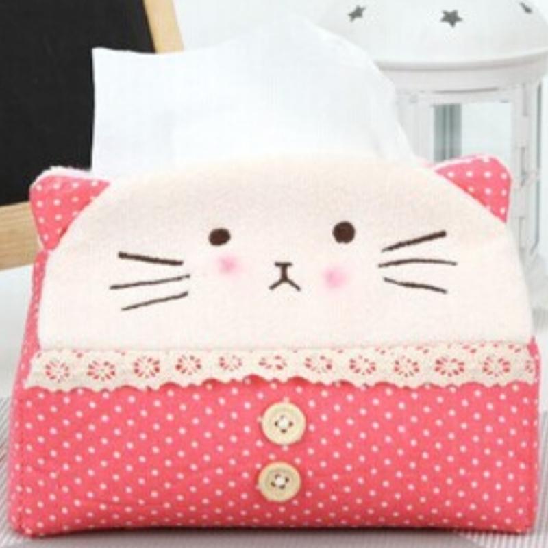 Cute Cloth Cartoon Tissue Box Napkin Cover Paper Holder Handkerchief Case Decor