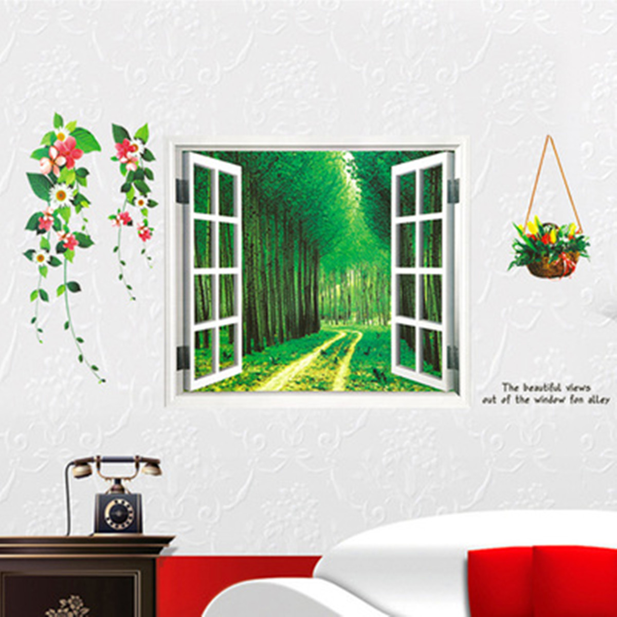 3d window view landscape wall stickers mural decal home for Bedroom 3d wall stickers