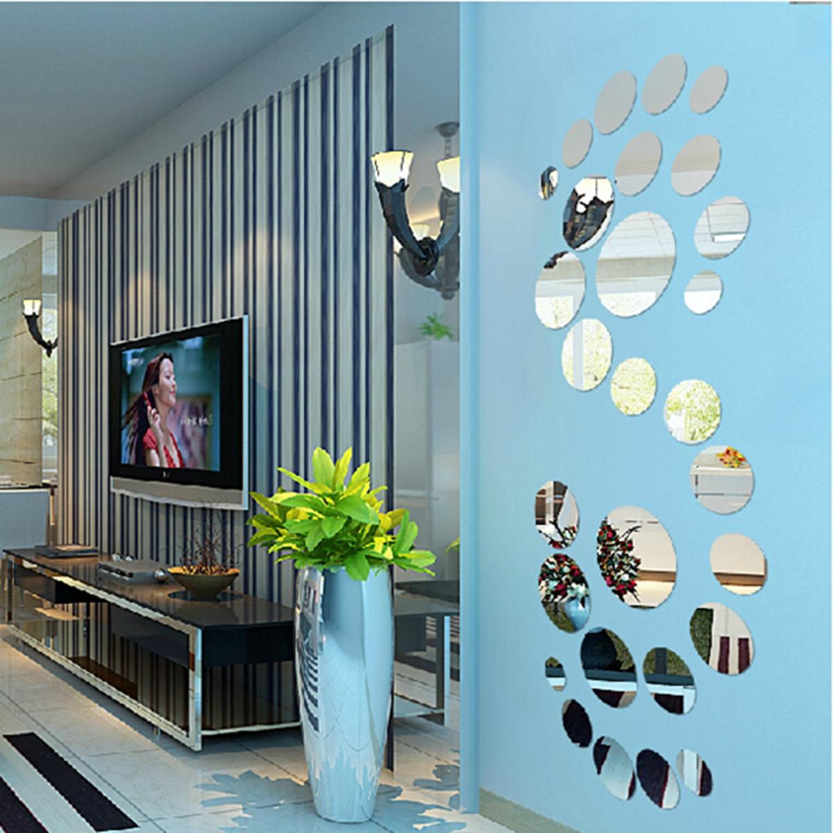 30x diy rund kreis wandtattoo spiegel aufkleber sticker wand wohnzimmer bad deko ebay. Black Bedroom Furniture Sets. Home Design Ideas